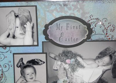 Close up of my First Easter Scrapbook page