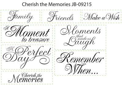 JB 09215 Cherish the Memories Sentiments
