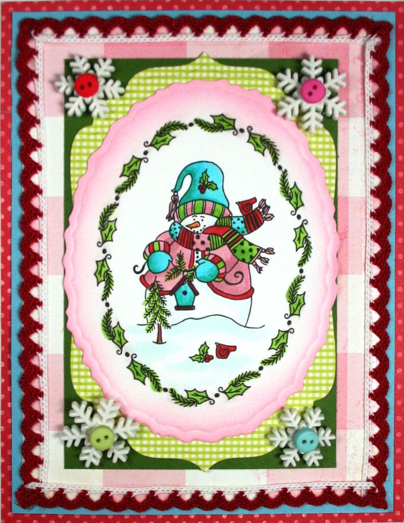 Snowman Pink card (2)