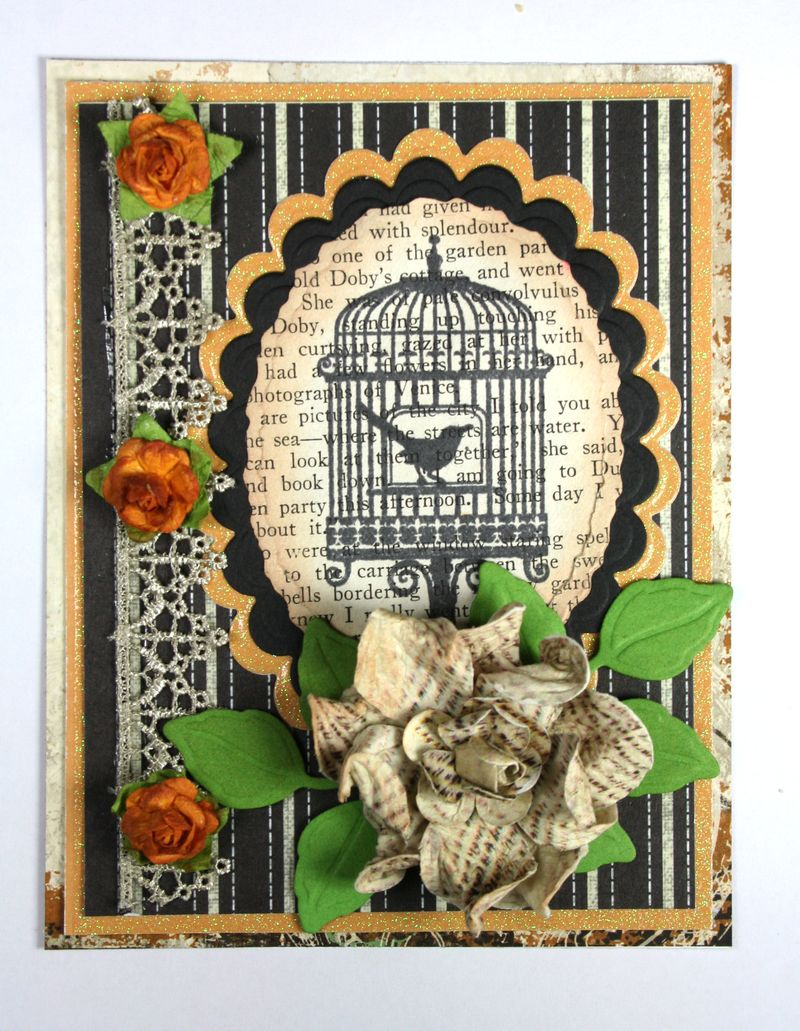 Birdcage on old book text