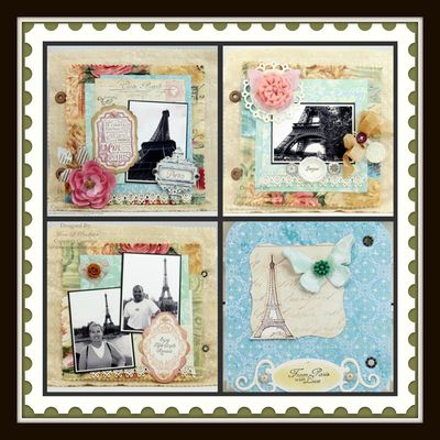 Set of 4 Bon Voyage Collage - Mona