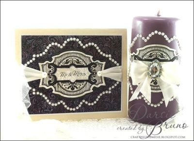Royal Vintage Labels candle and card designed by Darsie Bruno