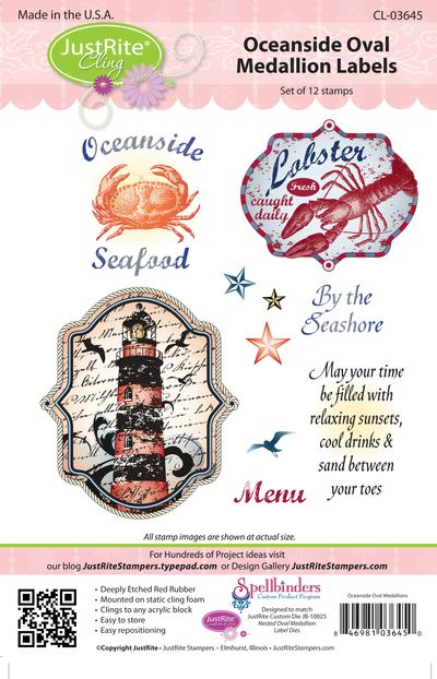 JR CL-03645 Oceanside Oval Medallion Labels PACKAGE (2)
