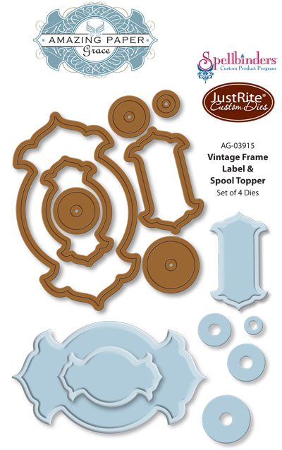 AG-03915 Vintage Frame Label  Spool Topper Dies WEB