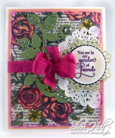 Sheri Holt French Rose Background Stamp