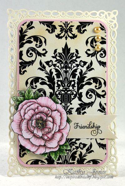Floral Vintage Labels Grand Rose card Kathy Jones