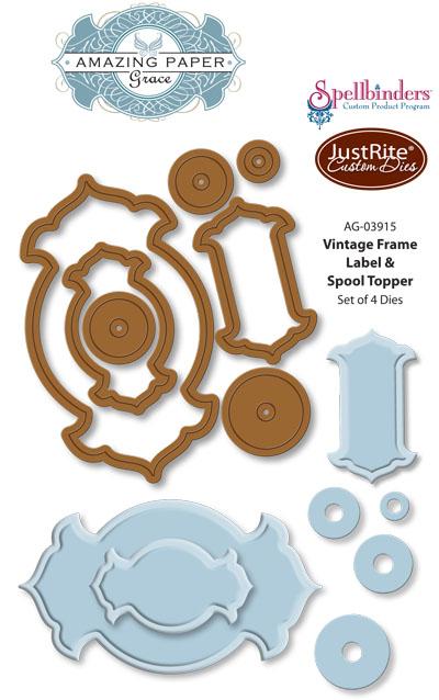 AG-03915 Vintage Frame Label  Spool Topper Dies WEB