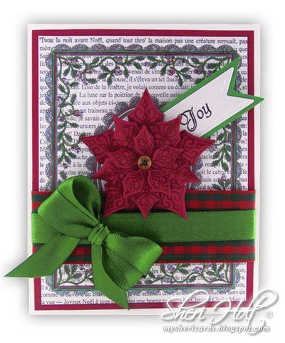 Christmas Holly Frame with Poinsettia Sheri Holt