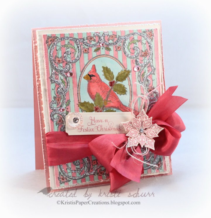 Christmas Cardinal Background Stamp