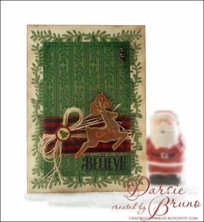 Christmas Holly Stripes Background Stamp- Darsie