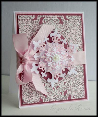 Pink snowflake card  Kazan Clark