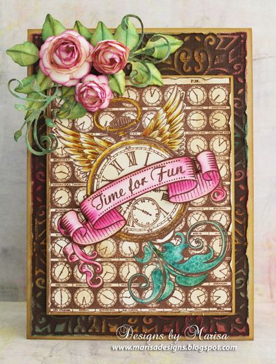 Marisa Job Time Flies Cling Background Stamp