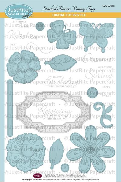 JR SVG-02018 Stitched Flowers Vintage Tags PACKAGE web