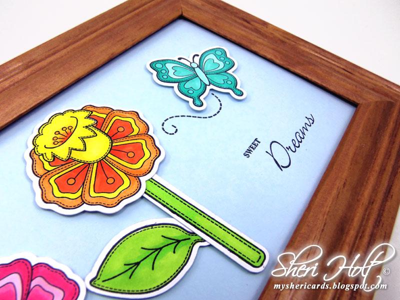 Close up Stitched Flower Frame Sheri Holt