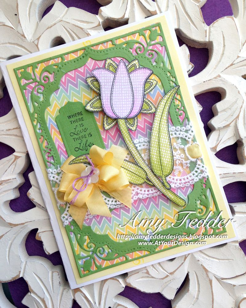 Applique Flowers & Vintage Sentiment Tags AMY T