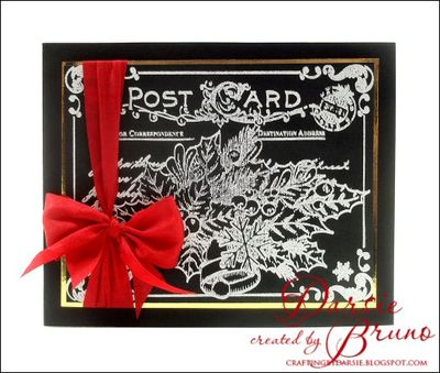 Christmas Card Postcard Cling Background Stamp