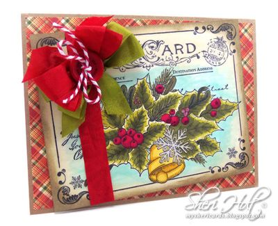 Sheri Holt Christmas Postcard Background Stamp