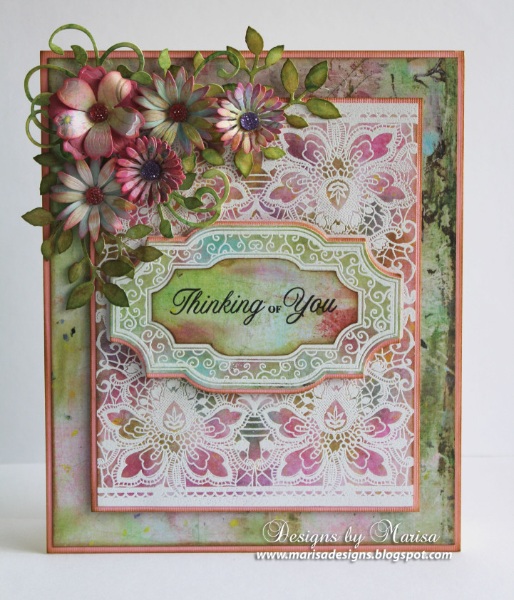 Floral Lace Vintage Tags Cling Background Stamp Marisa Job
