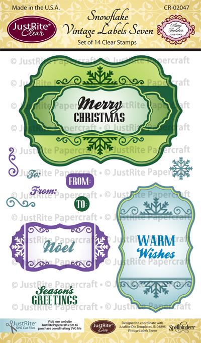CR-02047_Snowflake_Vintage_Labels_Seven_Clear_ Stamps_LG