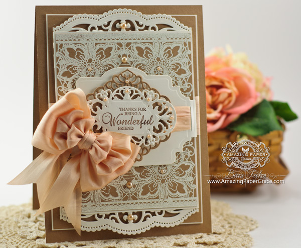 Becca Feeken Floral Lace Vintage Tags Cling Background Stamp
