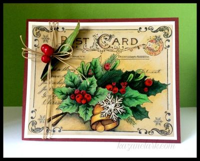 ChristmascardwithHollyandBerriesKazanClark