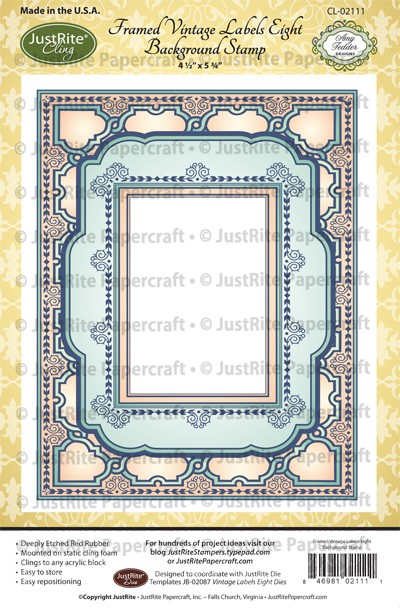 CL-02111_Framed_VIntage_Labels_Eight_Background_Cling_Stamp