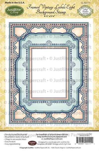 CL-02111_Framed_VIntage_Labels_Eight_Background_Cling_Stamp