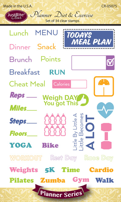 JR_CR-05075_Planner_Diet_&_Exercise_Clear_Stamps